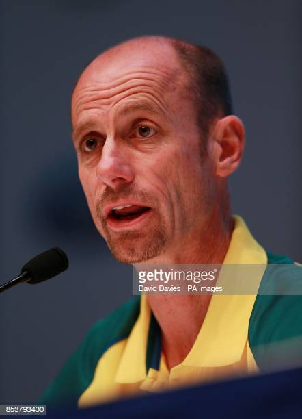 Team Australia's Chef de Mission Steve Moneghetti during a press conference at the MPC during the 2014 Commonwealth Games in Glasgow
