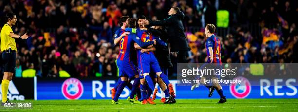 Team Barcelona celebrates as referee Deniz Aytekin gives the final whistle of the UEFA Champions League Round of 16 second leg match between FC...