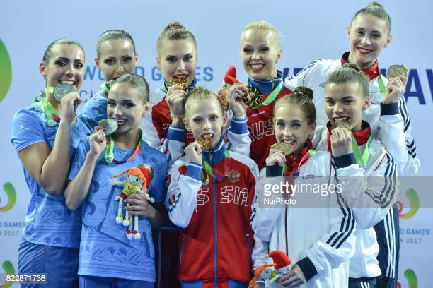 Team Belarus Team Russia and Team Great Britain Women's Groups AllAround Podium of The World Games 2017 at the National Forum of Music On Tuesday...