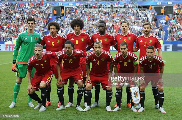 Team Belgium poses prior to the international friendly match between France and Belgium at Stade de France on June 7 2015 in SaintDenis nearby Paris...