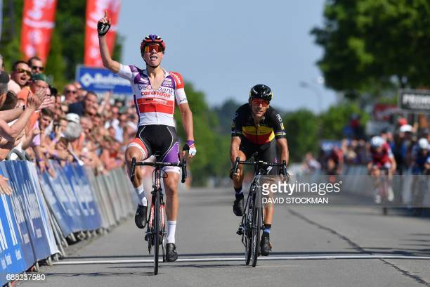 Team BKCPCorendon's Dutch Mathieu Van der Poel ahead of team QuickStep Floors's Belgian Philippe Gilbert celebrates as he wins the second stage of...