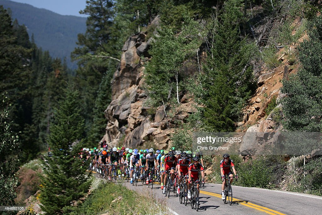 Team BMC Racing drives the peloton up Independence Pass during stage four of the USA Pro Challenge from Aspen to Breckenridge on August 20 2015 in...