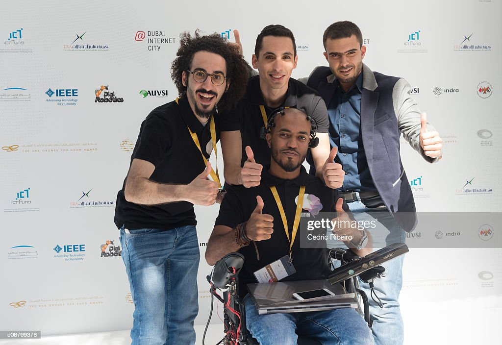 Team B-MOTION during The UAE AI & Robotics Award for Good at Dubai Internet City on February 6, 2016 in Dubai, United Arab Emirates where the winners of the USD 1 million international competition and the AED 1 million national competition will be announced.