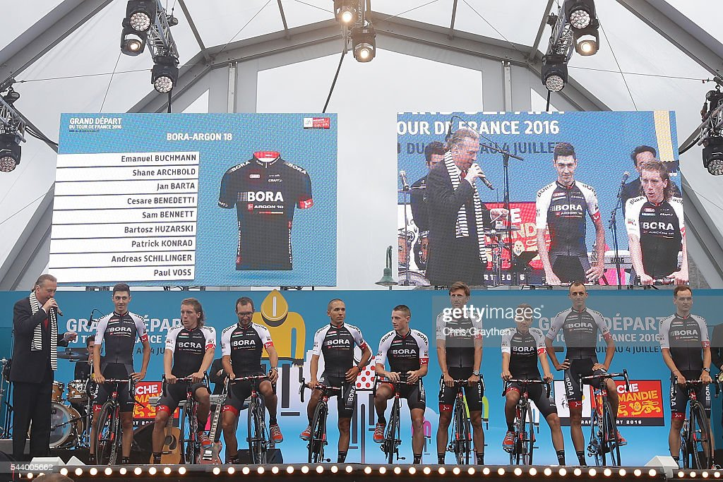Team Boara-Aragon 18 is introduced during the team presentation ahead of the 2016 Le Tour de France on June 30, 2016 in Sainte-Mere-Eglise, France.