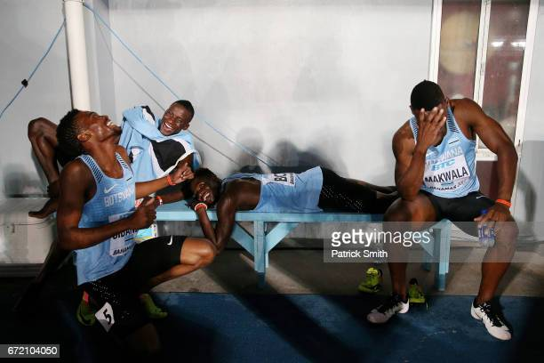 Team Botswana celebrates after placing second in the Men's 4x400 Metres Relay Final during the IAAF/BTC World Relays Bahamas 2017 at Thomas Robinson...