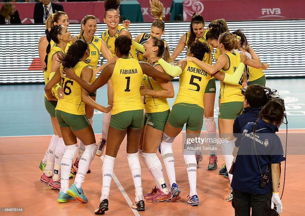 Team Brazil celebrate after winning the match against Japan during the FIVB World Grand Prix Final group one match between Brazil and Japan on August 24, 2014 in Tokyo, Japan.