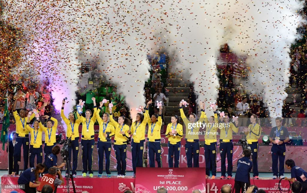 Team Brazil celebrate with gold medal on the podium during the FIVB World Grand Prix Final group one match between Brazil and Japan on August 24, 2014 in Tokyo, Japan.