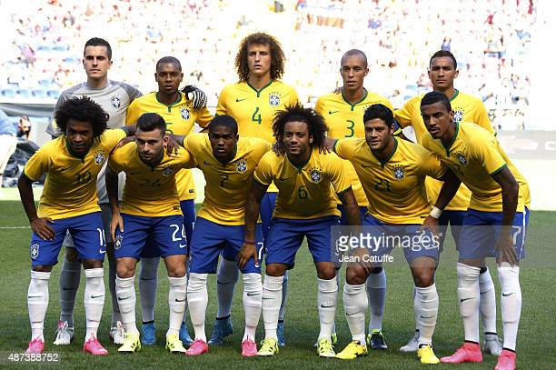 Team Brazil poses before the international friendly match between Brazil and Costa Rica at Red Bull Arena on September 5 2015 in Harrison New Jersey