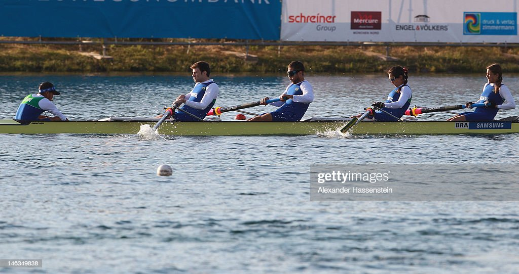 Team Brazil with (L-R) Norma Moura, Regiane Silva, Luciano Pires, Andre Dutra and Mauricio De Abreu Carlos compete in the Adaptive Events Mixed Couxed Four heat during the 2012 Samsung World Rowing Cup III at the Ruderregattastrecke on June 14, 2012 in Munich, Germany.