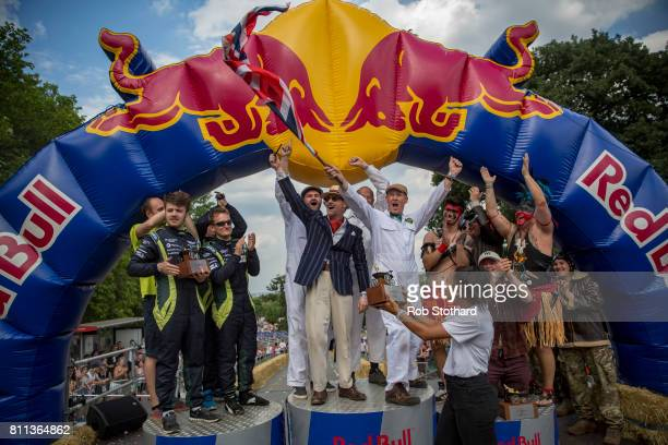 Team Brooklands Special celebrate winning The Red Bull Soapbox Race alongside second place team 24 Seconds of Le Ally Pally and third placed team...