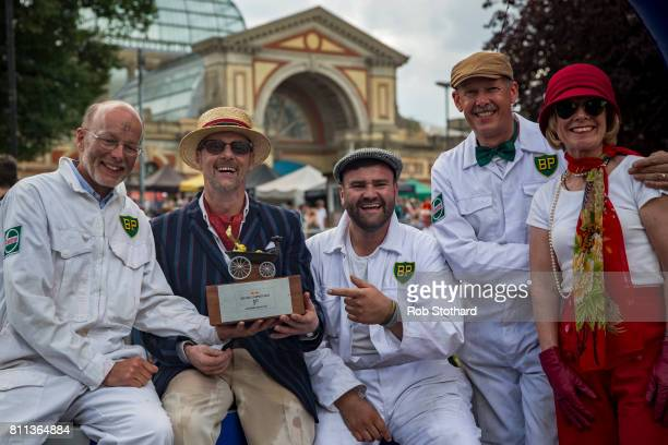 Team Brooklands Special pose for a photograph after winning The Red Bull Soapbox Race at Alexandra Palace on July 9 2017 in London England The event...