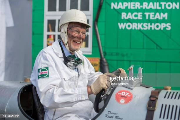 Team Brooklands Special's driver waits in the pits ahead of The Red Bull Soapbox Race at Alexandra Palace on July 9 2017 in London England The event...