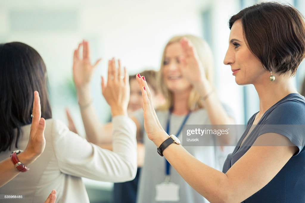 Team building workshop for women : Stock Photo