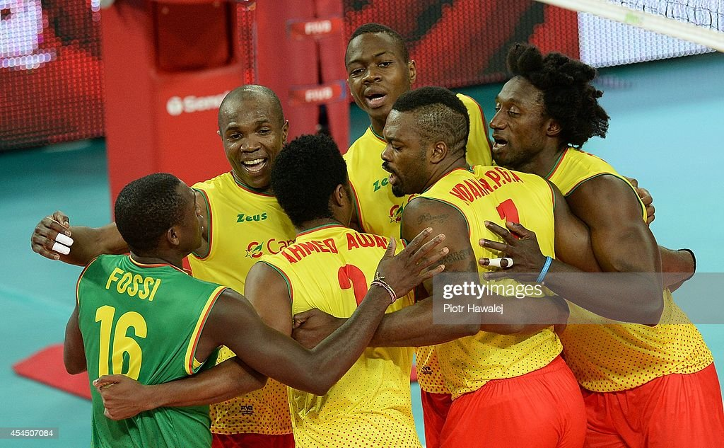 Team Cameroon celebrate after winning a point during the FIVB World Championships match between Venezuela and Cameroon on September 2, 2014 in Wroclaw, Poland.