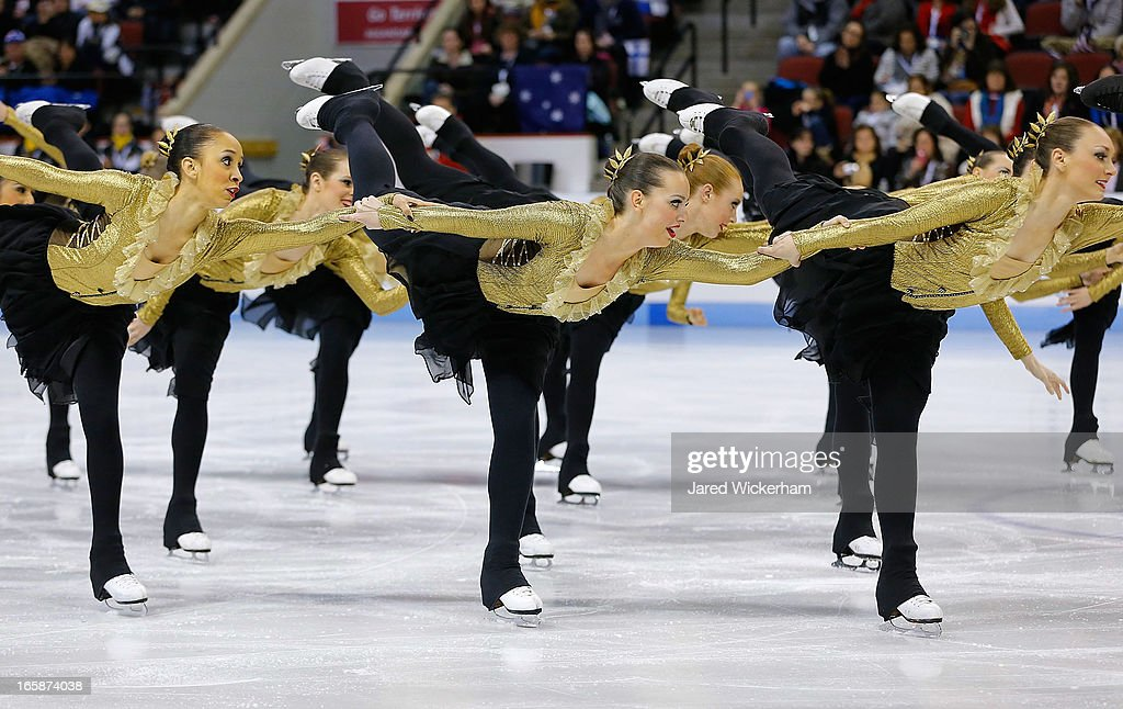 Team Canada 1 performs during the free skating competition of the ISU World Synchronized Skating Championships at Agganis Arena on April 6, 2013 in Boston, Massachusetts.