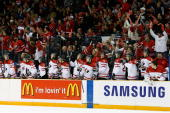 Team Canada and fans celebrate a first period goal against Team Slovakia during the 2010 IIHF World Junior Championship Tournament game on December...