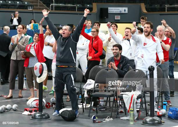 Team Canada and fans celebrate a Team Canada victory during the Team Men's Epee event on June 17 2017 at the PanAmerican Fencing Championships at...