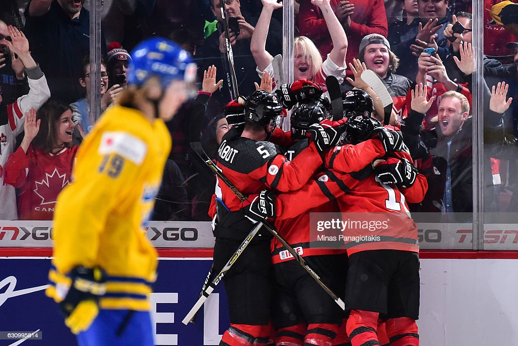 Team Canada celebrate a goal in the third period during the 2017 IIHF World Junior Championship semifinal game against Team Sweden at the Bell Centre on January 4, 2017 in Montreal, Quebec, Canada. Team Canada defeated Team Sweden 5-2 and move on to the gold medal round.