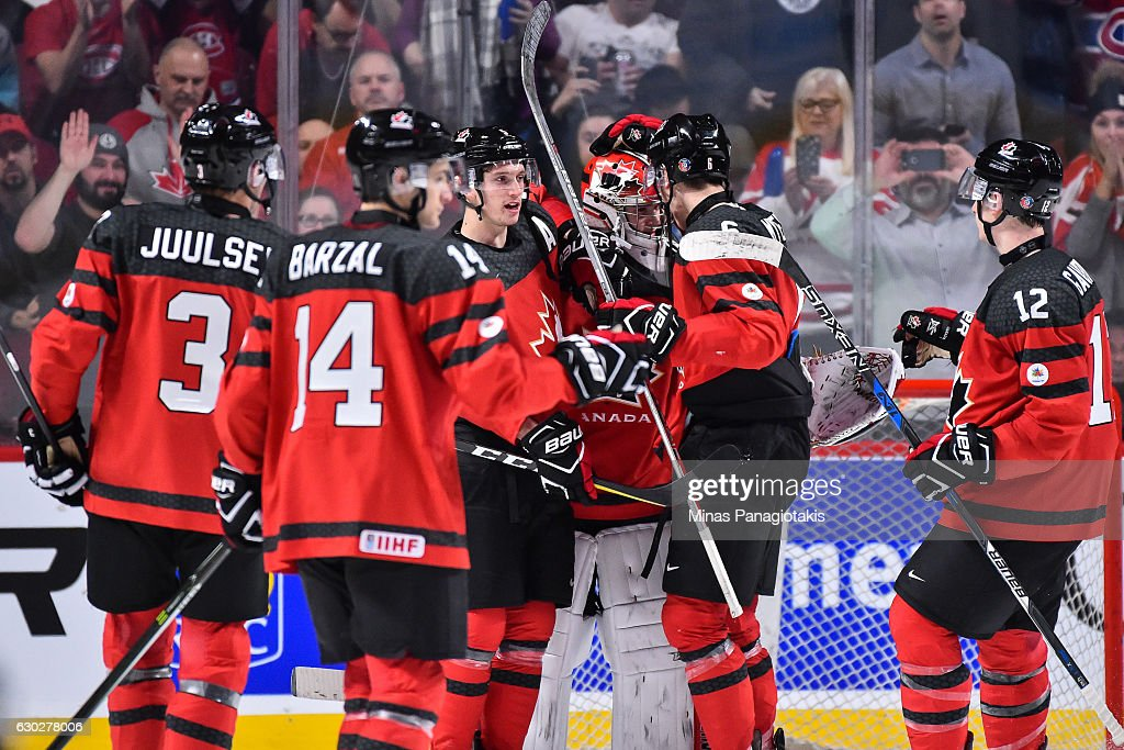 Team Canada celebrate a victory of Team Finland during the IIHF exhibition game at the Bell Centre on December 19, 2016 in Montreal, Quebec, Canada. Team Canada defeated Team Finland 5-0.