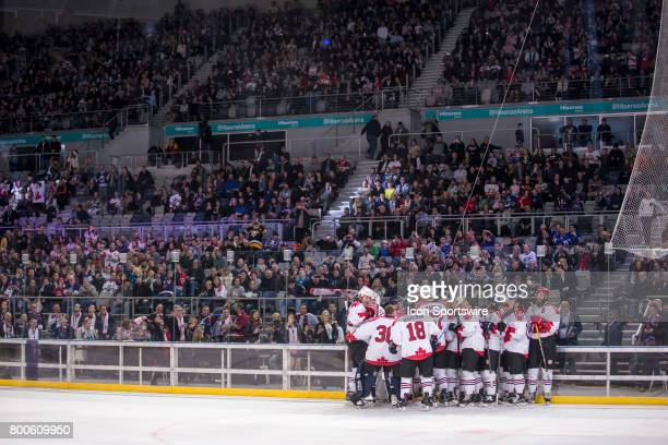 Team Canada Celebrate winning the Ice Hockey Classic overall during the Melbourne Game of the Ice Hockey Classic on June 24 2017 held at Hisence...