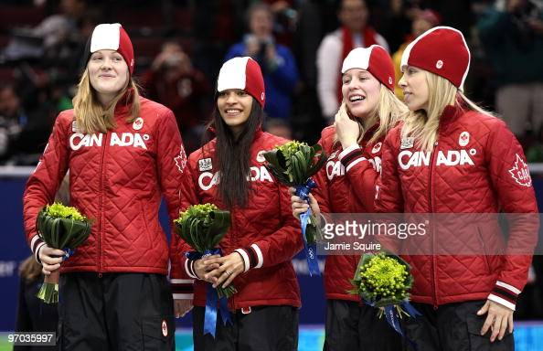 Team Canada celebrate winning the silver medal in the Short Track Speed Skating Ladies' 3000m relay finals on day 13 of the 2010 Vancouver Winter...
