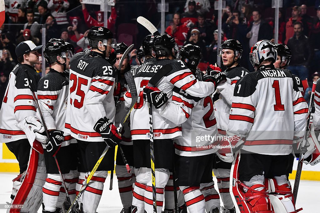 Team Canada celebrates a victory during the 2017 IIHF World Junior Championship quarterfinal game against Team Czech Republic at the Bell Centre on January 2, 2017 in Montreal, Quebec, Canada. Team Canada defeated Team Czech Republic 5-3.