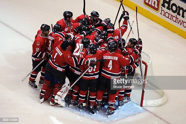 Team Canada celebrates after winning the 2004 World Cup of Hockey Championship game against Team Finland on September 14 2004 at the Air Canda Centre...