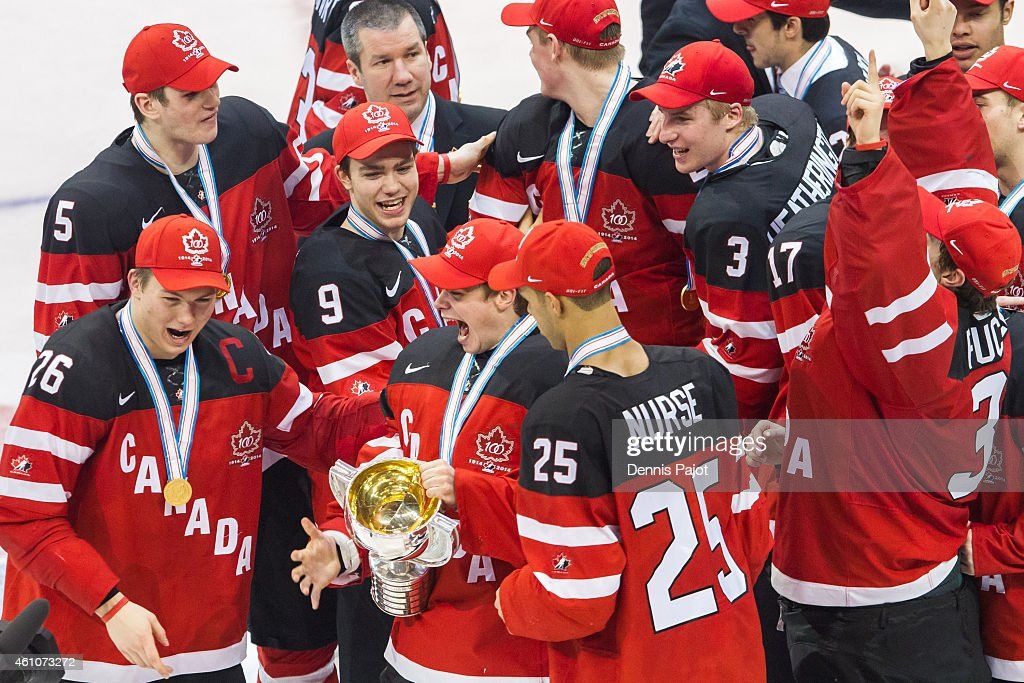 Team Canada celebrates the 5-4 win over Russia during the Gold medal game of the 2015 IIHF World Junior Championship on January 05, 2015 at the Air Canada Centre in Toronto, Ontario, Canada.