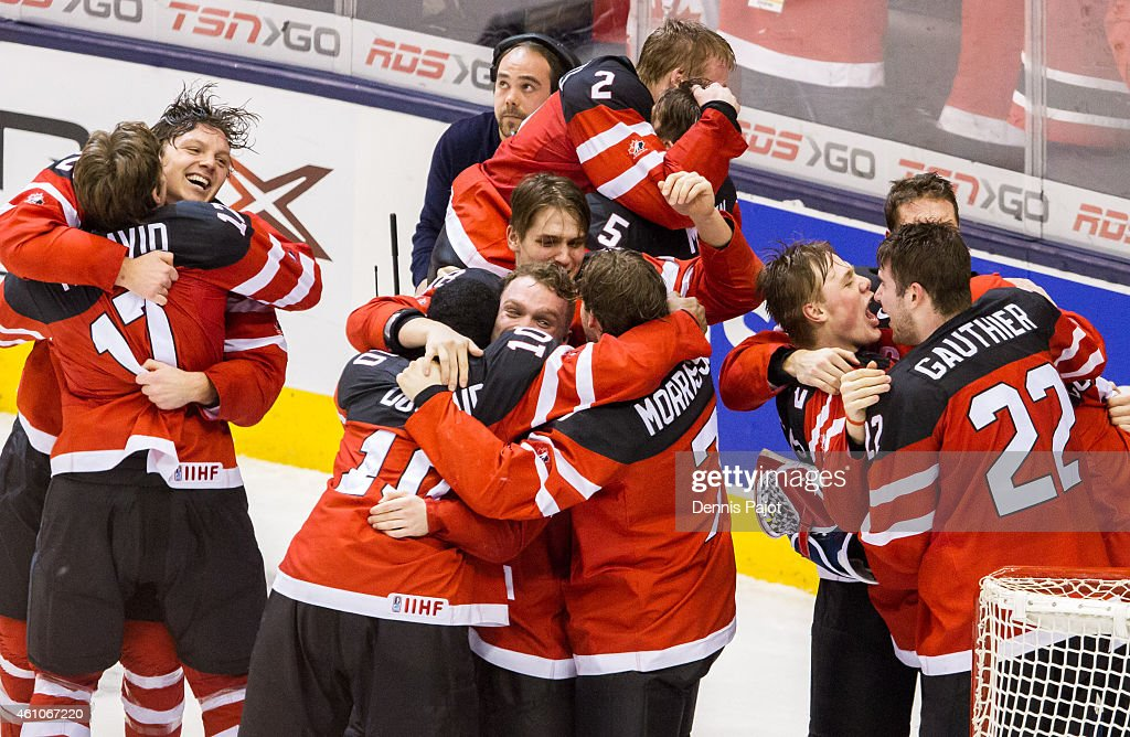Team Canada celebrates the win over Russia during the Gold medal game of the 2015 IIHF World Junior Championship on January 05, 2015 at the Air Canada Centre in Toronto, Ontario, Canada.