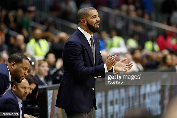 Team Canada coach Drake reacts to a call during the annual celebrity game against Team USA part of the NBA allstar weekend in Toronto Ontario Toronto...