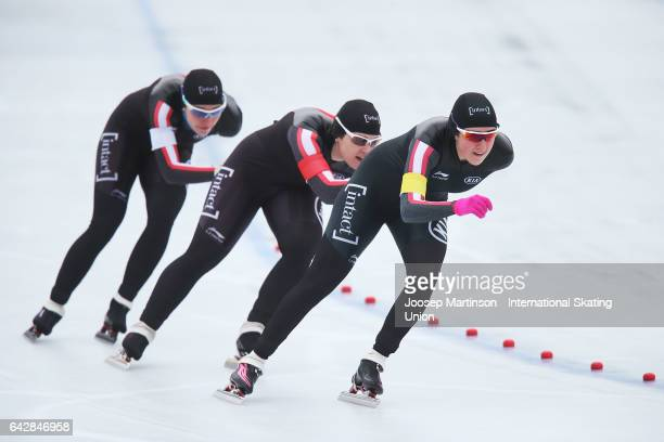 Team Canada compete in the ladies team pursuit during day three of the World Junior Speed Skating Championships at Oulunkyla Sports Park on February...