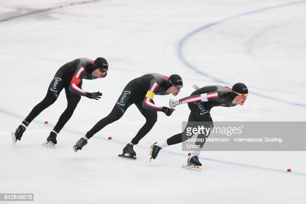Team Canada compete in the men's team pursuit during day three of the World Junior Speed Skating Championships at Oulunkyla Sports Park on February...