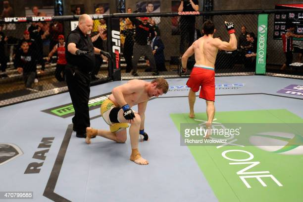 Team Canada fighter Sheldon Westcott celebrates after submitting Team Australia fighter Daniel Kelly in their middleweight fight during filming of...