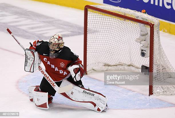 TORONTO ON JANUARY 4 Team Canada goaltender Zachary Fucale makes a save as Team Canada plays Team Slovakia in the semi final round of the IIHF World...
