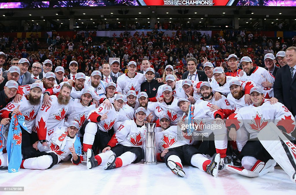 Team Canada poses for a team photo following their 2-1 victory against Europe in Game Two of the World Cup of Hockey final series at the Air Canada Centre on September 29, 2016 in Toronto, Canada. Canada defeated Europe 2-1 to win the World Cup.