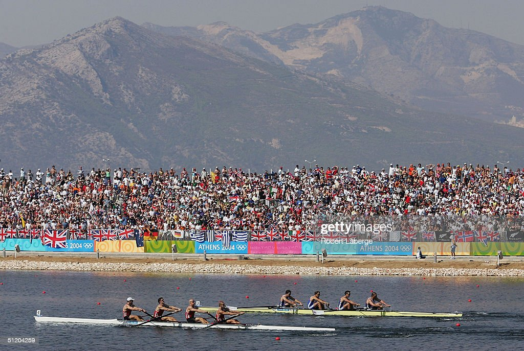Team Canada (L) races Team Great Britain to the finish in the men's four final on August 21, 2004 during the Athens 2004 Summer Olympic Games at the Schinias Olympic Rowing and Canoeing Centre in Athens, Greece.