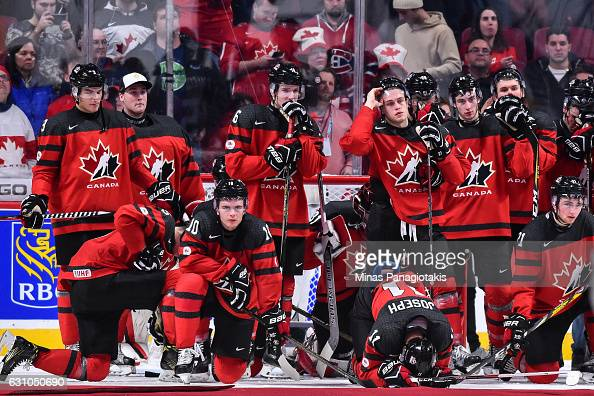 Team Canada react after losing to Team United States during the 2017 IIHF World Junior Championship gold medal game at the Bell Centre on January 5...