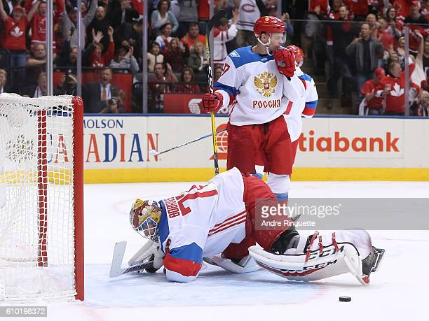 Team Canada scores a first period goal on Sergei Bobrovsky of Team Russia at the semifinal game during the World Cup of Hockey 2016 tournament at the...