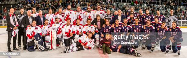 Team Canada Team USA and other Officials line up for a group shot after the Melbourne Game of the Ice Hockey Classic on June 24 2017 held at Hisence...