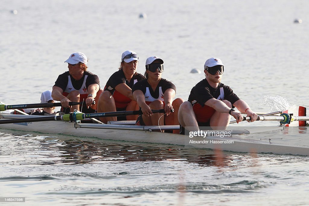 Team Canada with (L-R) Anthony Theriault, Meghan Montgomery, Victoria Nolan, David Blair and Kristen Kit compete in the Adaptive Events Mixed Couxed Four heat during the 2012 Samsung World Rowing Cup III at the Ruderregattastrecke on June 14, 2012 in Munich, Germany.