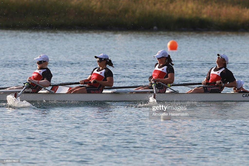 Team Canada with (R-L) Anthony Theriault, Meghan Montgomery, Victoria Nolan, David Blair and Kristen Kit compete in the Adaptive Events Mixed Couxed Four heat during the 2012 Samsung World Rowing Cup III at the Ruderregattastrecke on June 14, 2012 in Munich, Germany.