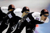 Team Canada with Jordan Belchos Lucas Makowsky and Denny Morrison competes in the Team Pursuit Men on day two of the Essent ISU World Cup Speed...