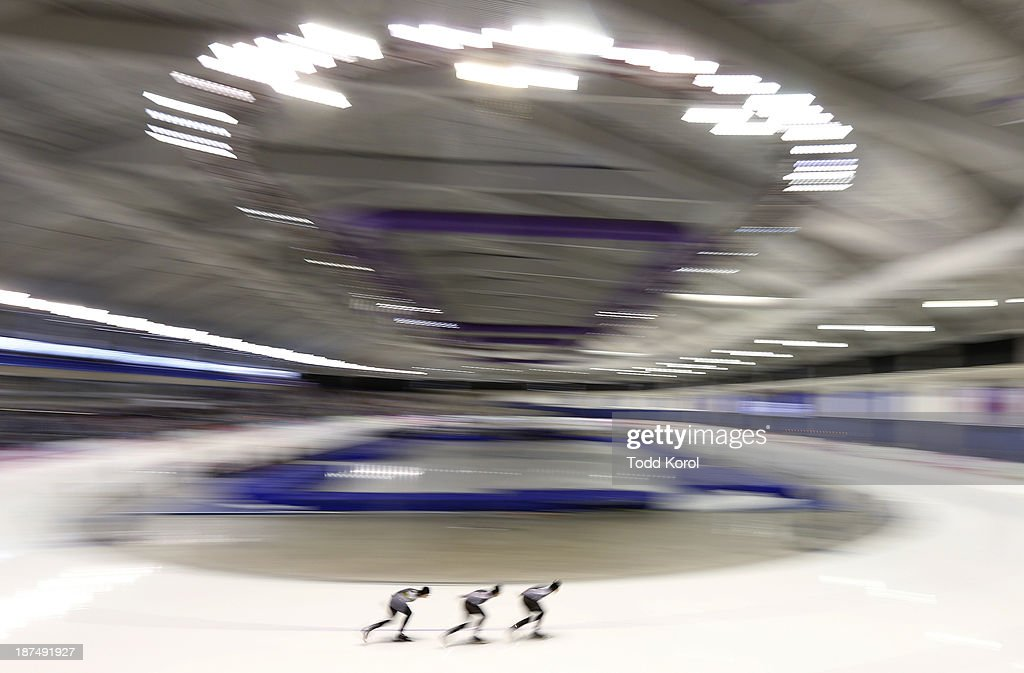 Team Canada's <a gi-track='captionPersonalityLinkClicked' href=/galleries/search?phrase=Denny+Morrison&family=editorial&specificpeople=726041 ng-click='$event.stopPropagation()'>Denny Morrison</a>, <a gi-track='captionPersonalityLinkClicked' href=/galleries/search?phrase=Lucas+Makowsky&family=editorial&specificpeople=5691558 ng-click='$event.stopPropagation()'>Lucas Makowsky</a> and <a gi-track='captionPersonalityLinkClicked' href=/galleries/search?phrase=Mathieu+Giroux&family=editorial&specificpeople=6528018 ng-click='$event.stopPropagation()'>Mathieu Giroux</a> race in the men's team pursuit race during the ISU World Cup Speed Skating event November 9, 2013 in Calgary, Alberta, Canada.