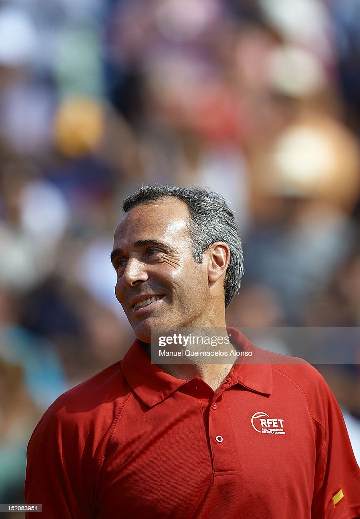 Team captain <a gi-track='captionPersonalityLinkClicked' href=/galleries/search?phrase=Alex+Corretja&family=editorial&specificpeople=211620 ng-click='$event.stopPropagation()'>Alex Corretja</a> of Spain looks on during day three of the semi final Davis Cup between Spain and the United States at the Parque Hermanos Castro on September 16, 2012 in Gijon, Spain.
