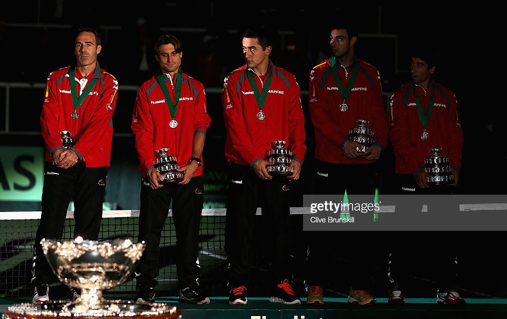 Team Captain Alex Corretja,<a gi-track='captionPersonalityLinkClicked' href=/galleries/search?phrase=David+Ferrer&family=editorial&specificpeople=208197 ng-click='$event.stopPropagation()'>David Ferrer</a>,Nicolas Almagro,Marcel Granollers and Marc Lopez show their dejection on the rostrum with their runners up medals after a 3-2 defeat against Czech Republic during day three of the final Davis Cup match between Czech Republic and Spain at the 02 Arena on November 18, 2012 in Prague, Czech Republic.
