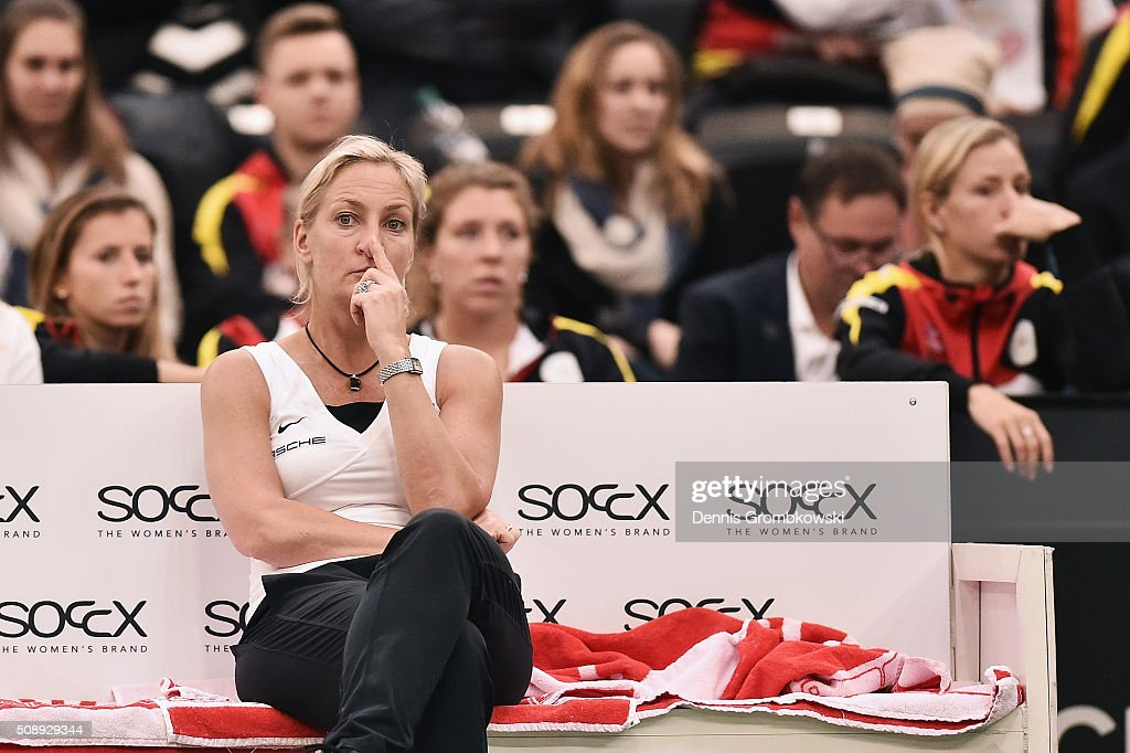 Team captain Barbara Rittner of Germany looks dejected on Day 2 of the 2016 FedCup World Group Round 1 match between Germany and Switzerland at Messe Leipzig on February 7, 2016 in Leipzig, Germany.