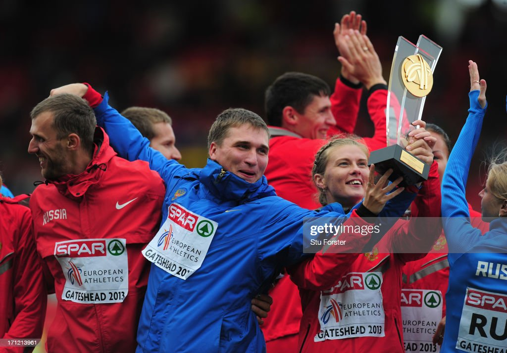 Team captain Dmitry Tarabin (c) celebrates with the rest of the Russia team after they had won the event after day two of the European Athletics Team Championships at Gateshead International Stadium on June 23, 2013 in Gateshead, England.