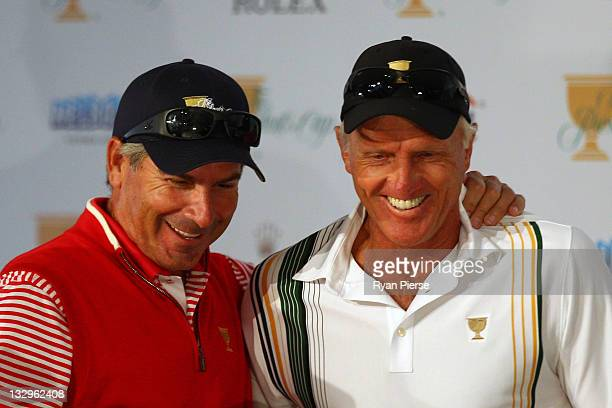 S Team captain Fred Couples and International Team captain Greg Norman discuss the first day's foursomes matches prior to the start of the 2011...
