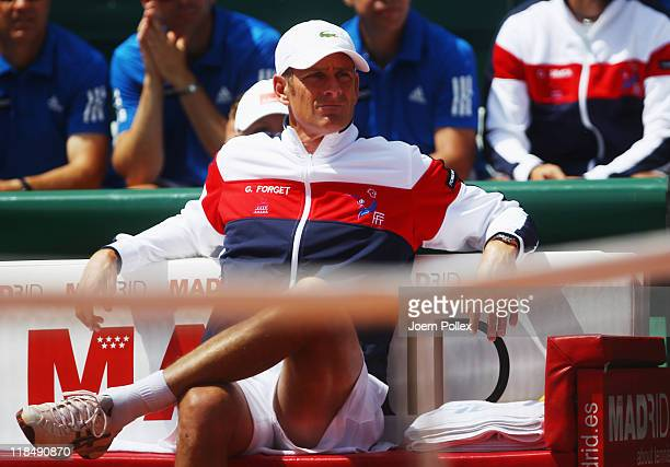 Team captain Guy Forget of France is seen during the quarterfinals match in the Davis Cup World Group at Tennis club Weissenhof on July 8 2011 in...