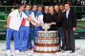 R Team captain Jaroslav Navratil Radek StepanekTomas Berdych Lukas RosolIvo Minar of Czech Republic and 1980 winning team Pavel Korda team captainJan...